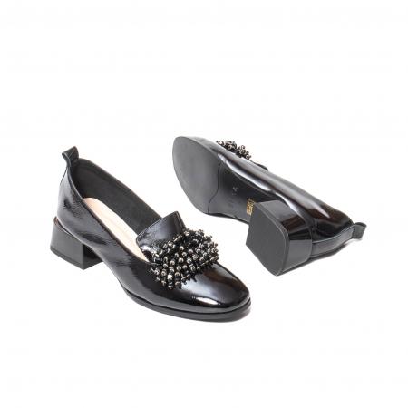 Pantofi casual dama, piele naturala lacuita, J7H551-3433, negru [3]