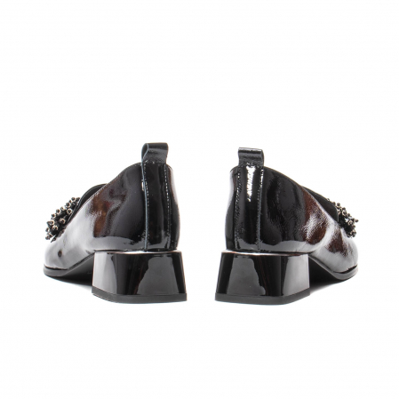 Pantofi casual dama, piele naturala lacuita, J7H551-3433, negru [6]
