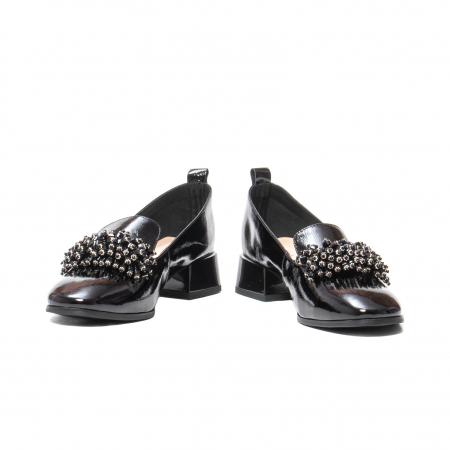 Pantofi casual dama, piele naturala lacuita, J7H551-3433, negru [4]