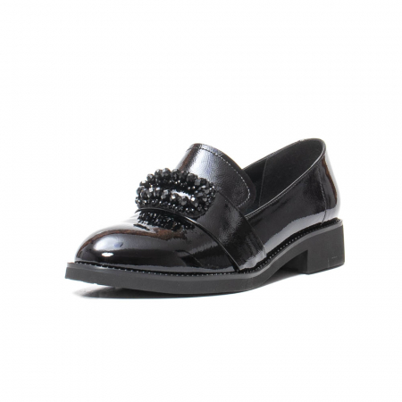 Pantofi casual dama, piele naturala lacuita, JIXS320 negru [0]