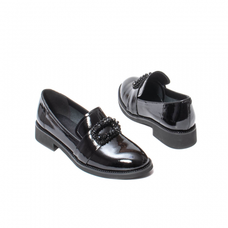 Pantofi casual dama, piele naturala lacuita, JIXS320 negru [2]