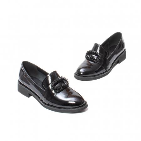 Pantofi casual dama, piele naturala lacuita, JIXS320 negru [1]