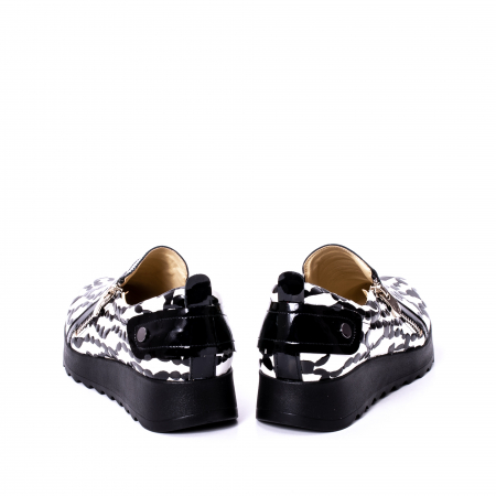 Pantofi casual dama piele naturala Nike Invest 340, alb-negru6