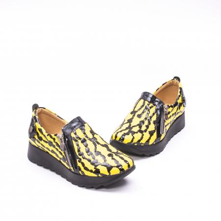 Pantofi casual dama piele naturala Nike Invest  340 galben/negru1