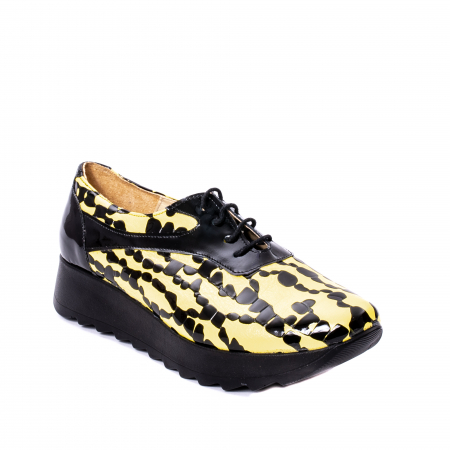 Pantofi casual dama piele naturala Nike Invest 346, galben/negru0