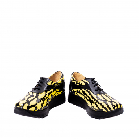 Pantofi casual dama piele naturala Nike Invest 346, galben/negru4
