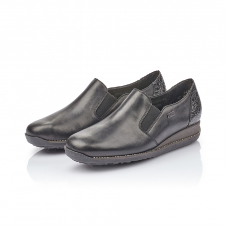 Pantofi casual dama, piele naturala Rieker 44264, negru4