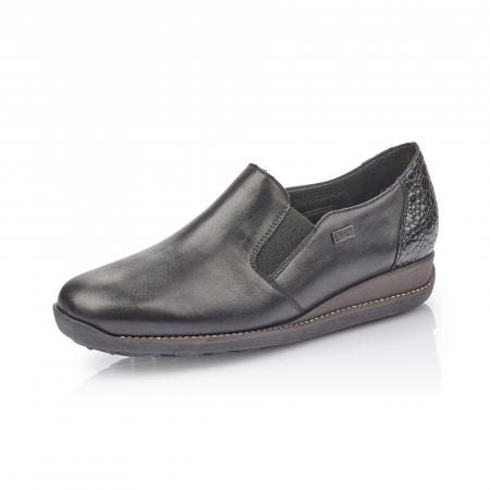 Pantofi casual dama, piele naturala Rieker 44264, negru0