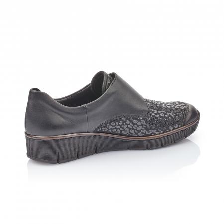Pantofi casual dama piele naturala Rieker 537C0-00, negru1