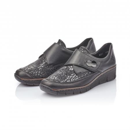 Pantofi casual dama piele naturala Rieker 537C0-00, negru2