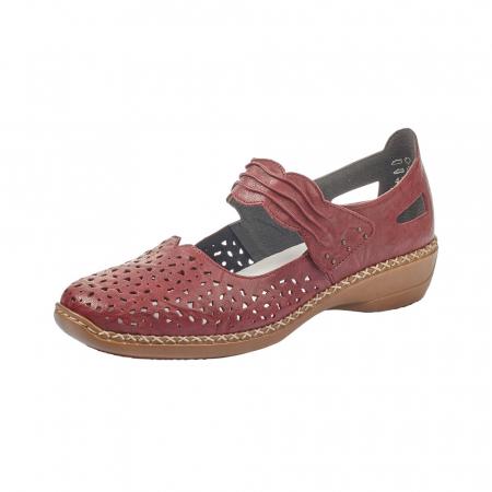 Pantofi dama de vara, piele naturala, Rik 41399-35, grena0
