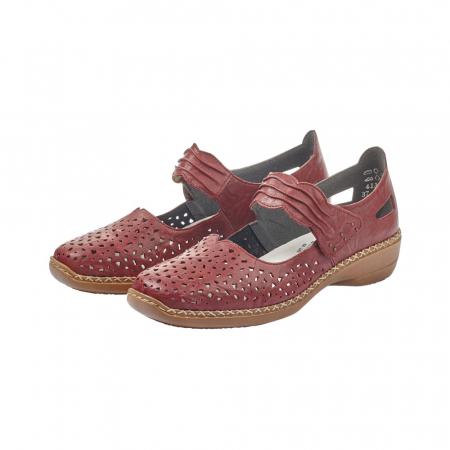 Pantofi dama de vara, piele naturala, Rik 41399-35, grena6