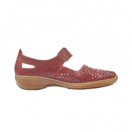 Pantofi dama de vara, piele naturala, Rik 41399-35, grena3