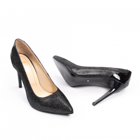 Pantofi dama piele naturala peliculizata Nike Invest 329-ngnl, negru lucios3