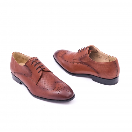 Pantofi barbati eleganti, piele naturala, Nevalis 116, coniac [2]