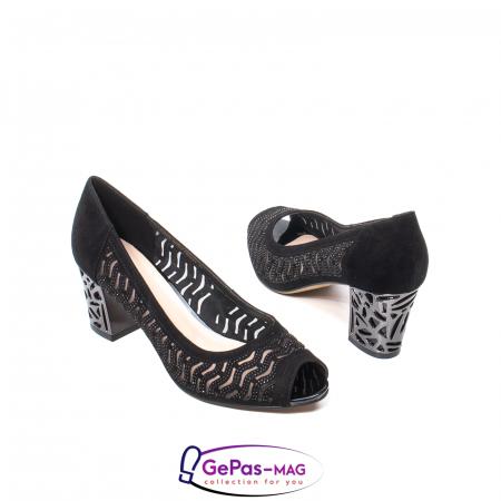 Pantofi dama cu toc mediu din piele naturala de antilopa , EP8563T2