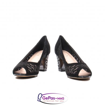 Pantofi dama cu toc mediu din piele naturala de antilopa , EP8563T4