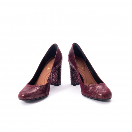 Pantofi eleganti dama, piele naturala, Epica 9766 bordo nubuc4