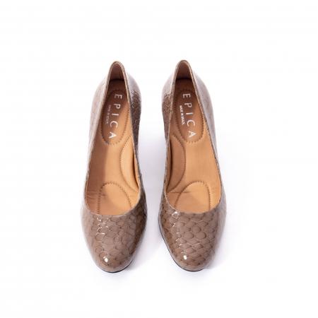 Pantofi eleganti dama piele naturala lacuita, Epica 9690 taupe5