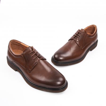 Pantofi eleganti de barbat din piele naturala, Leofex 998 maro1