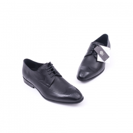 Pantofi barbati eleganti piele naturala Nevalis 116, negru1