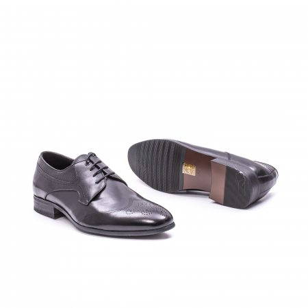 Pantofi eleganti barbati din piele naturala QRF 335621, negru2