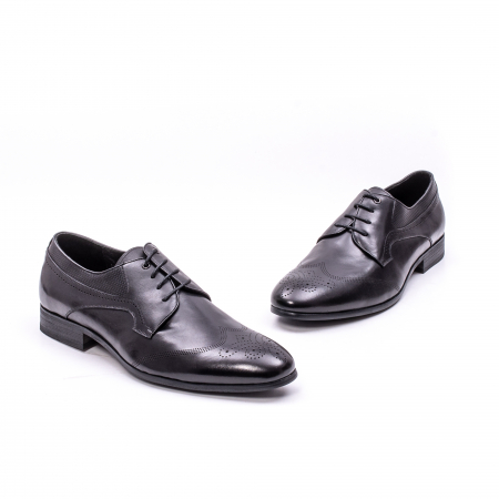 Pantofi eleganti barbati din piele naturala QRF 335621, negru6