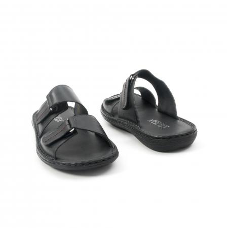 Papuci de  barbat din piele naturala ,culoare negru LEOFEX  5312