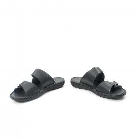 Papuci de  barbat din piele naturala ,culoare negru LEOFEX  5314