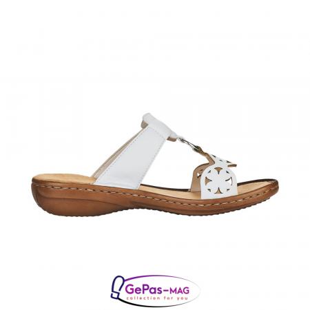 Papuci dama, piele ecologica, 60827-80 alb2