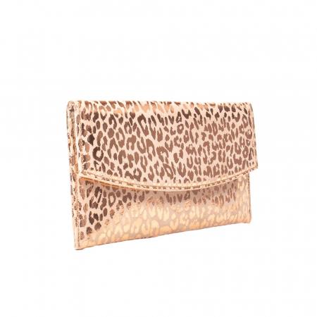 Plic elegant slim, piele naturala texturata, auriu roze
