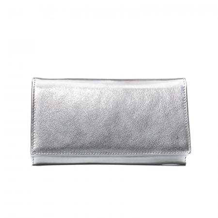 Portofel dama Elena, piele naturala, argintiu0