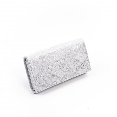 Portofel dama piele naturala texturata,alb-argintiu0