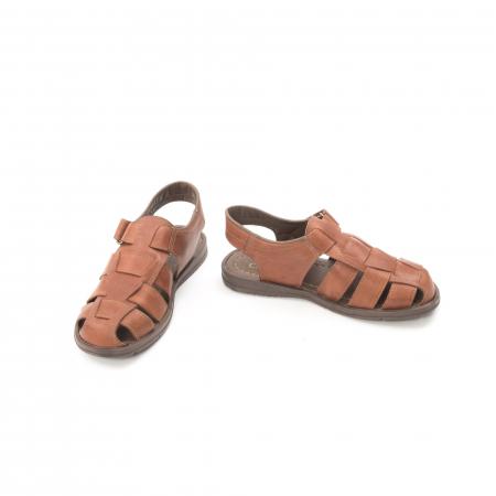 Sandale barbati piele naturala, Caribu QP218, maro4