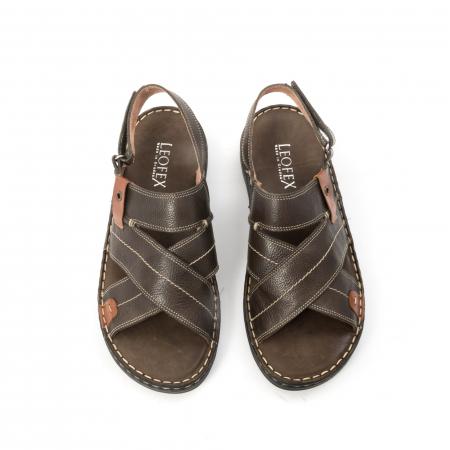 Sandale  barbat din piele naturala ,culoare maro,Leofex 7995