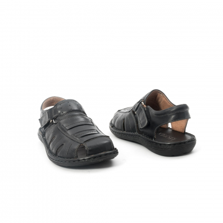 Sandale  barbat  din piele naturala ,culoare negru ,Leofex 929 .2