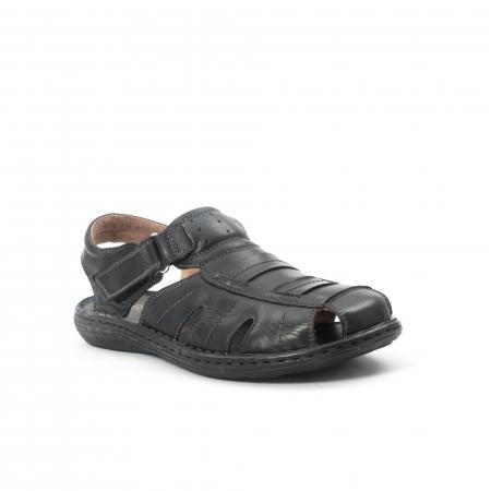 Sandale  barbat  din piele naturala ,culoare negru ,Leofex 929 .0