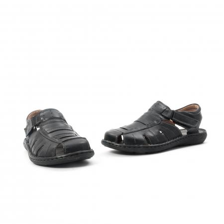 Sandale  barbat  din piele naturala ,culoare negru ,Leofex 929 .1