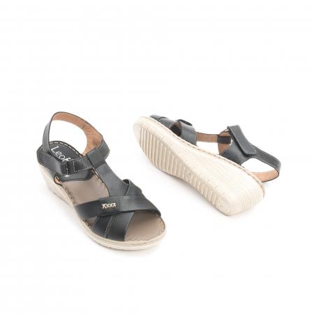 Sandale dama casual din piele naturala ,Leofex 214 negru2