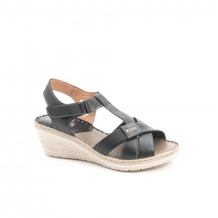 Sandale dama casual din piele naturala ,Leofex 214 negru0