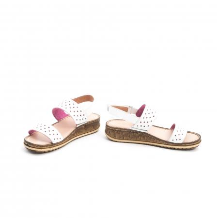 Sandale dama casual Leofex 212, piele naturala, alb4