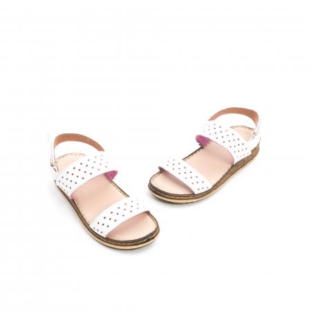 Sandale dama casual Leofex 212, piele naturala, alb1
