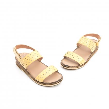 Sandale dama casual , piele naturala, Leofex 212 galben1