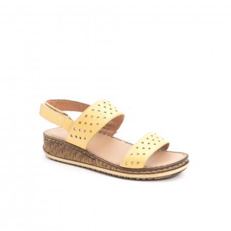Sandale dama casual , piele naturala, Leofex 212 galben0