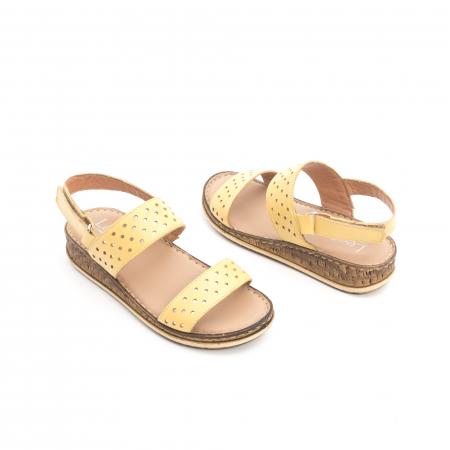 Sandale dama casual , piele naturala, Leofex 212 galben3