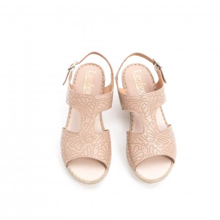 Sandale dama casual din piele naturala,Leofex  218 taupe5