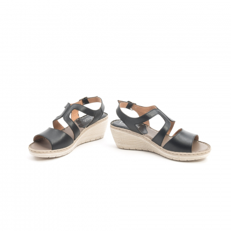 Sandale dama  casual  din piele naturala Leofex 232 negru4
