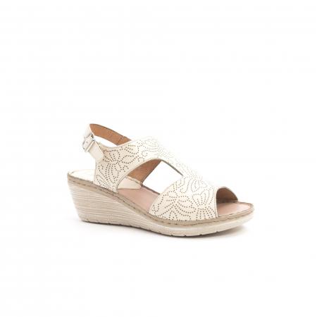 Sandale dama casual din piele naturala,Leofex 218 bej0