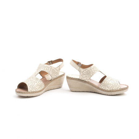 Sandale dama casual din piele naturala,Leofex 218 bej4