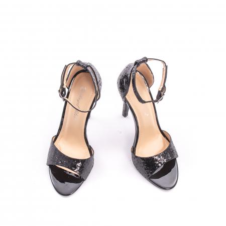 Sandale dama elegante Angel Blue 646, piele eco, negru2